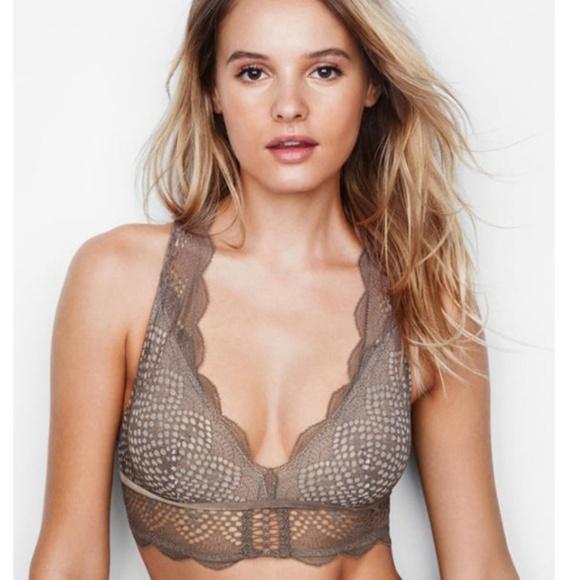 Victoria Secret Bralette Bra Lace Sheer Racerback Unlined Wire Free
